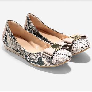 Cole Haan Tali Bow Ballet Flat Snake Python Size 8